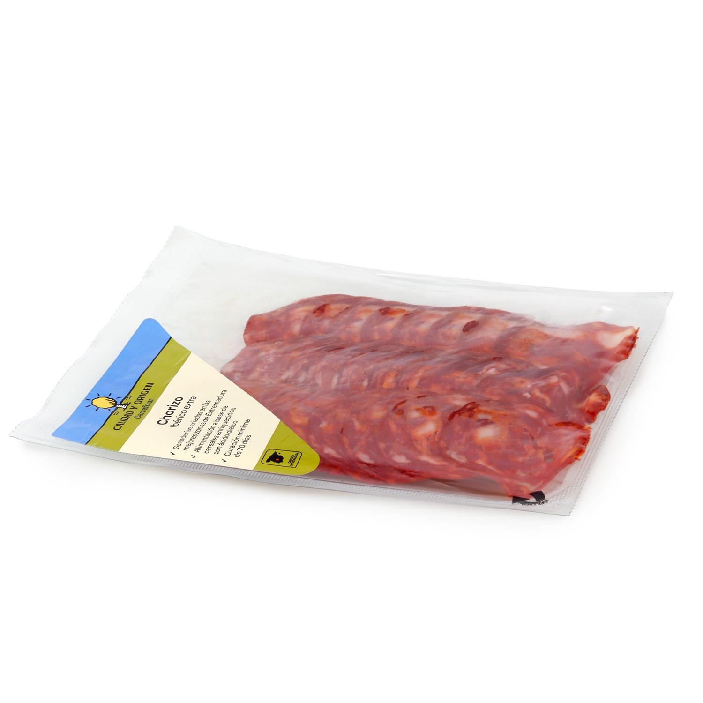 Chorizo ibérico de cebo 50% raza ibérica loncheado Carrefour Calidad y Origen 100 g