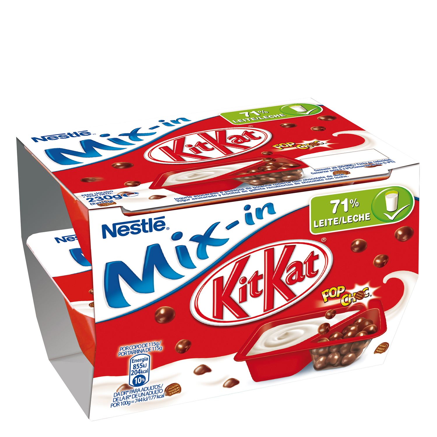 Yogur con bolitas cubiertas de chocolate Mix-in Nestlé Kit Kat pack de 2 unidades de 115 g.