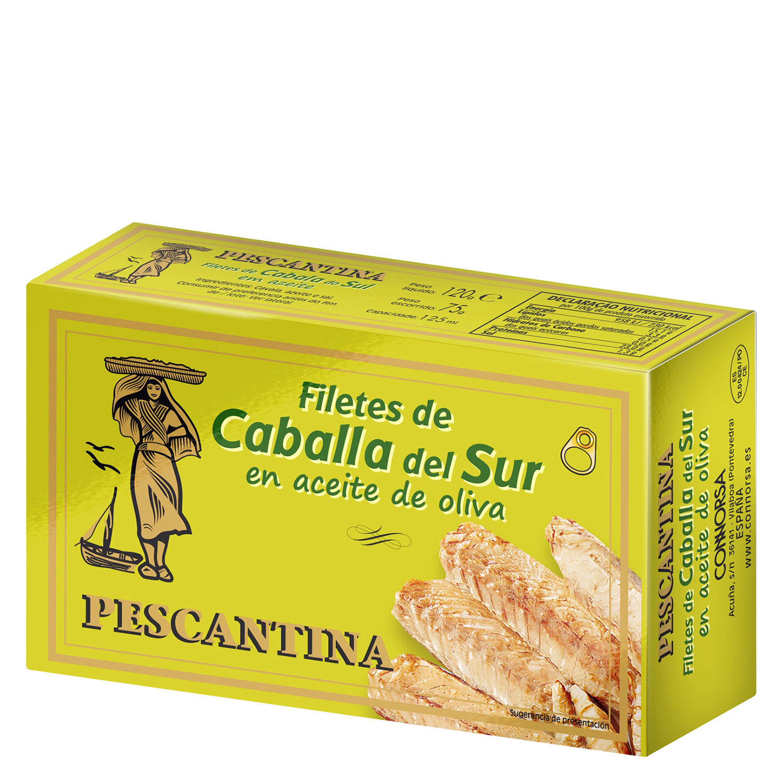 Filetes de caballa del sur en aceite de oliva Pescantina 75 g.