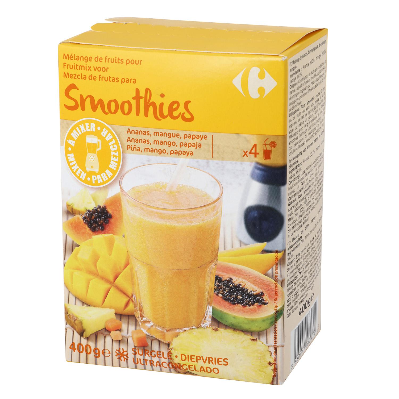 Mezcla de frutas para smoothie: piña, mango y papaya