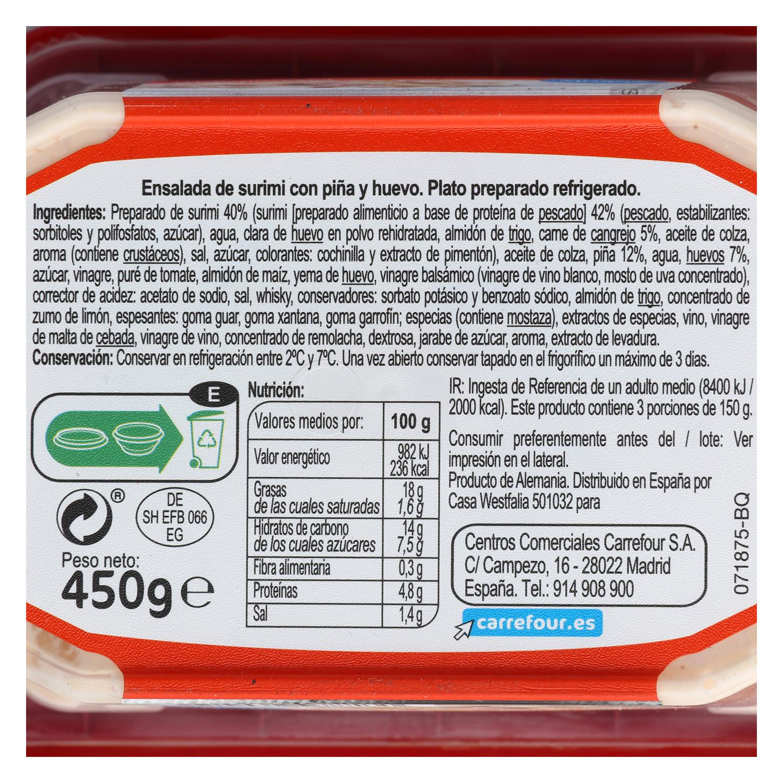 Ensalada de cangrejo con piña Carrefour 450 g. - 2