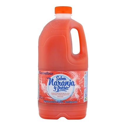 Zumo de naranja y fresa Carrefour botella 2 l.