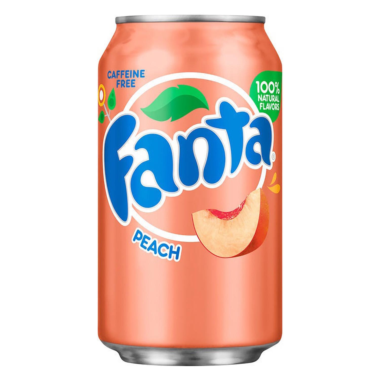 Refresco de melocotón Fanta con gas sin cafeína lata 35,5 cl.