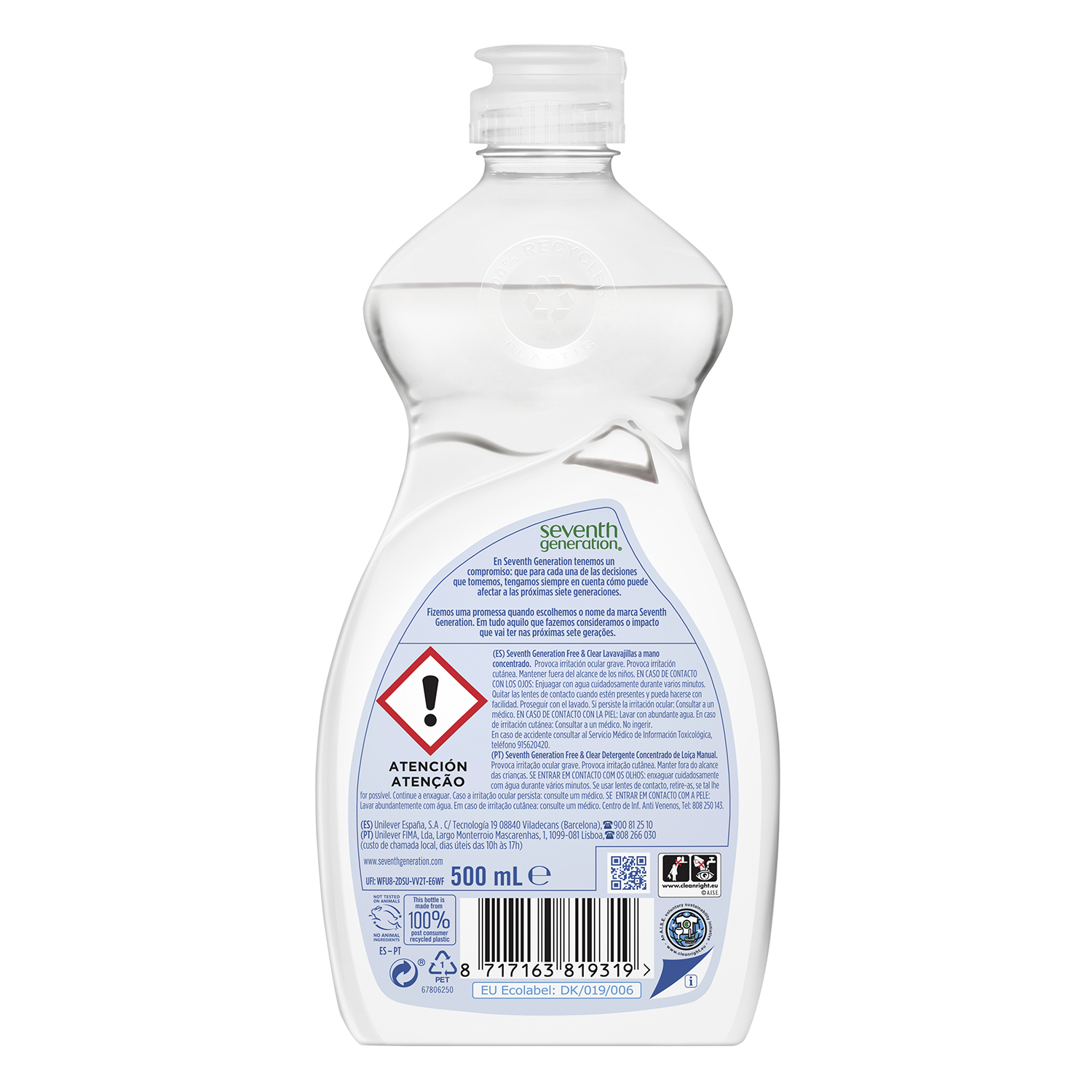 Lavavajillas a mano ecológico Free & Clear Seventh Generation 500 ml. -