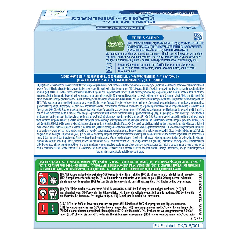 Lavavajillas máquina en pastillas ecológico Free & Clear Seventh Generation 24 ud. -