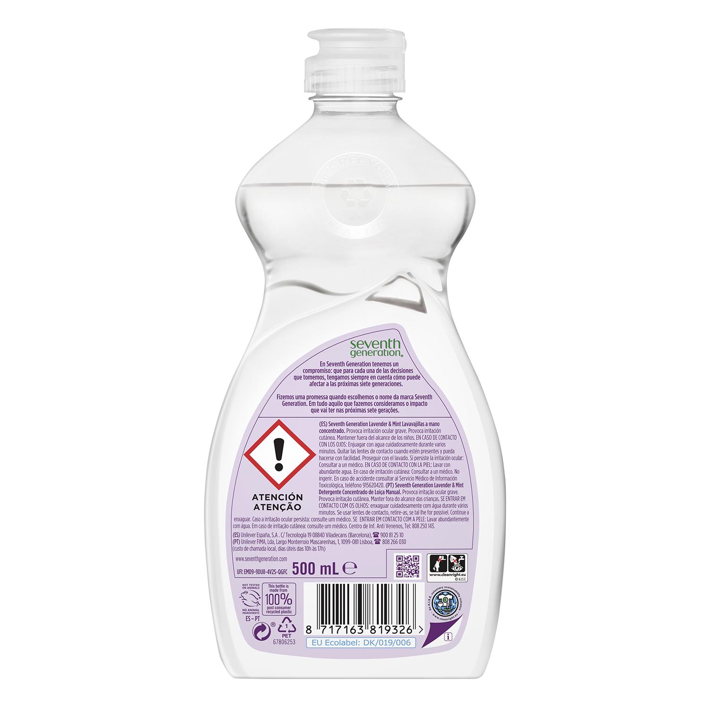 Lavavajillas a mano ecológico Lavender & Mint Seventh Generation 500 ml. -
