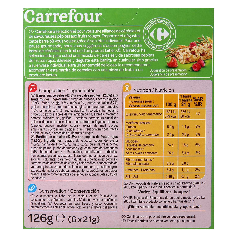 Barritas de cereales con frutos rojos Carrefour 126 g. - 2