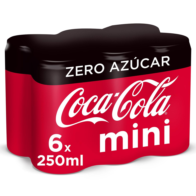 Refresco de cola Coca Cola zero pack de 6 latas de 25 cl.