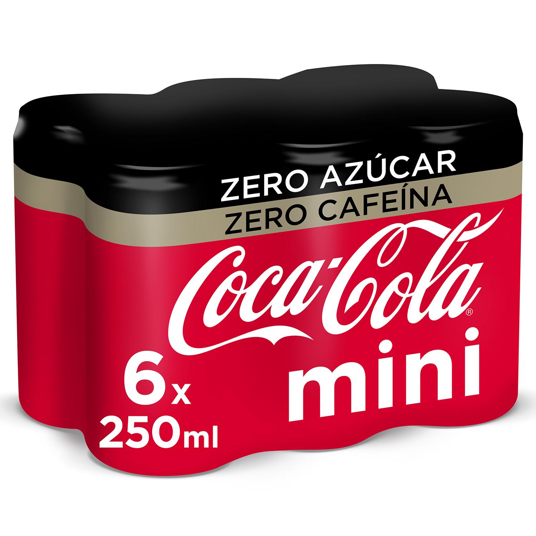 Refresco de cola Coca Cola zero sin cafeína pack de 6 latas de 25 cl.