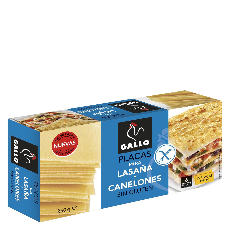 Placas para lasaña y canelones Gallo sin gluten 250 g.