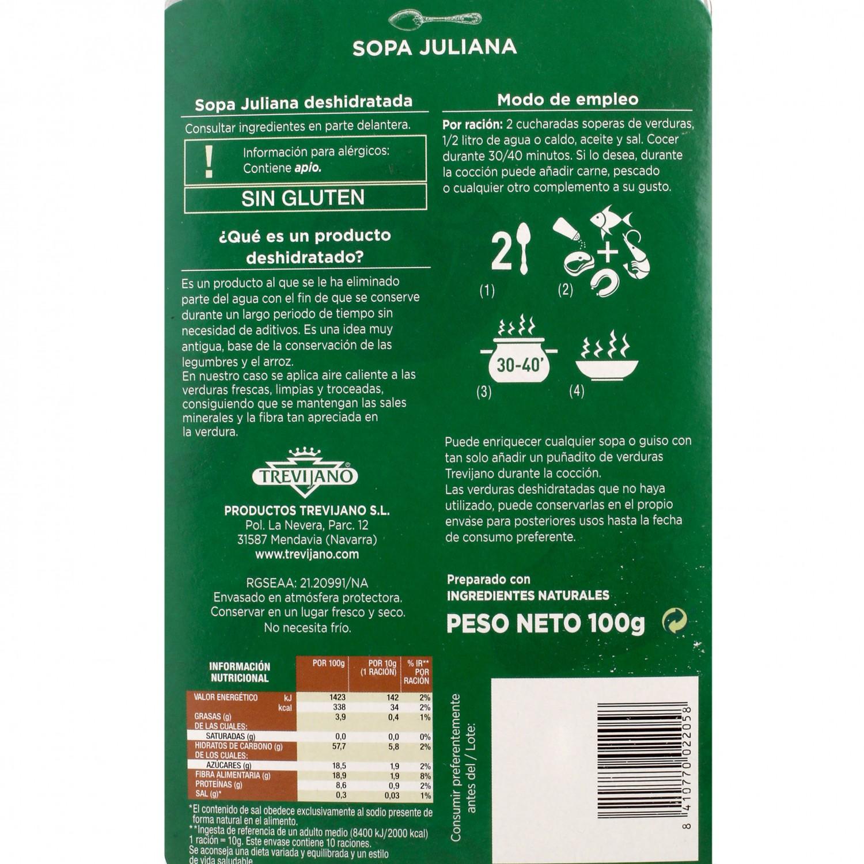 Sopa juliana deshidratada Trevijano envase 100 g - 3