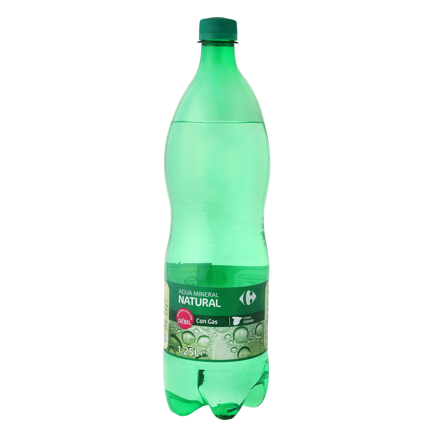 Agua mineral Carrefour natural con gas 1,25 l.