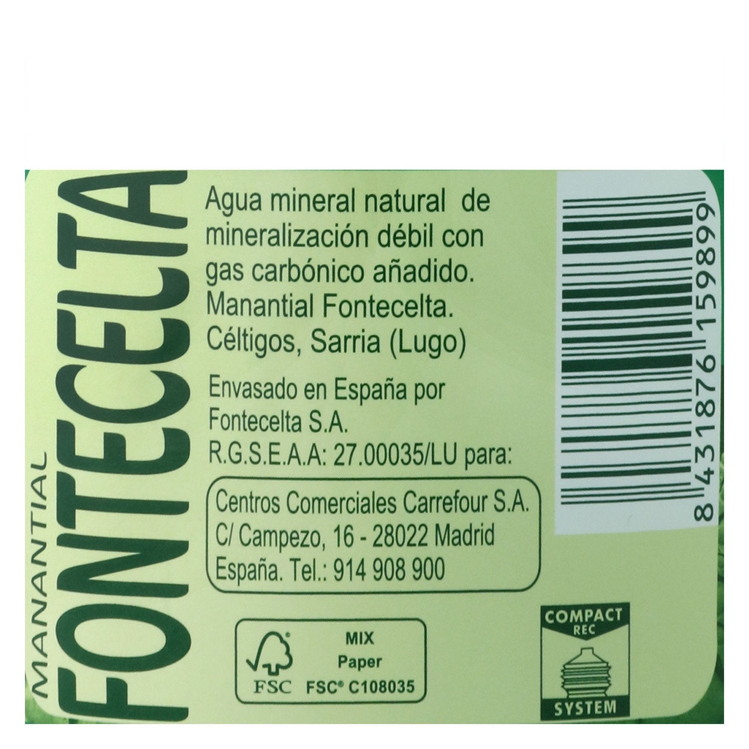 Agua mineral Carrefour natural con gas 1,25 l. -