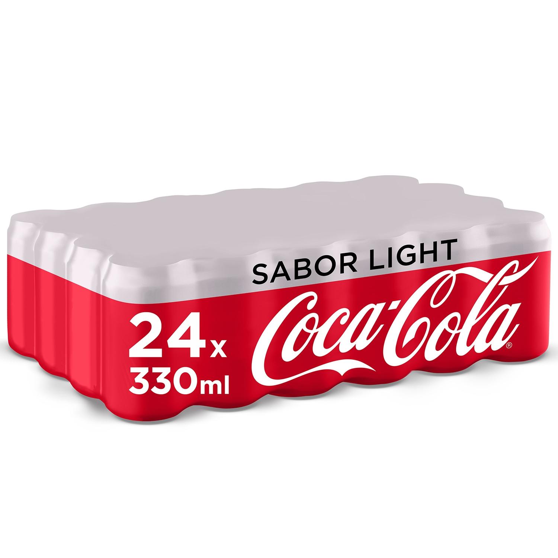 Refresco de cola Coca Cola light pack de 24 latas de 33 cl.