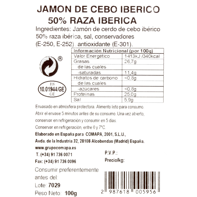 Jamón de cebo ibérico 50% raza ibérica en lonchas La Joya de la Sierra 100 g - 3