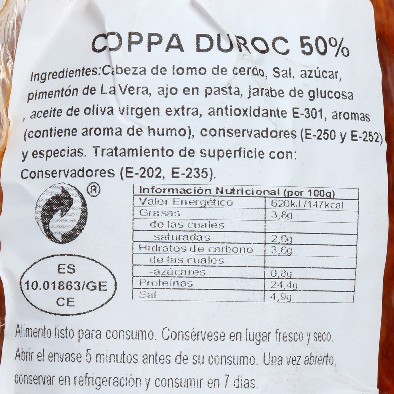 Coppa curada 50% raza duroc pieza Reserva Unica Sierra Alpujarra pieza 400 g - 2
