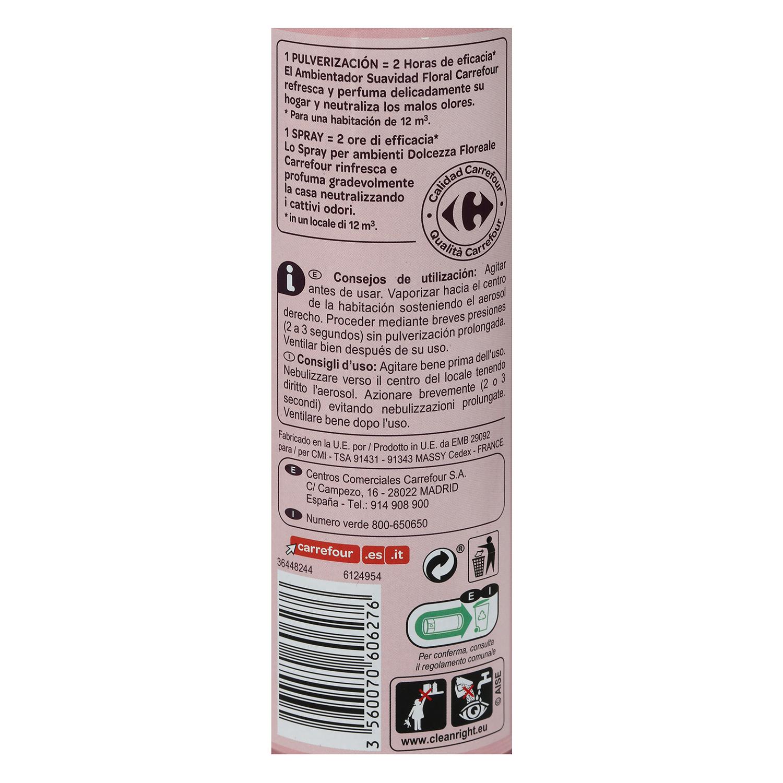 Ambientador aerosol floral Carrefour 300 ml. -