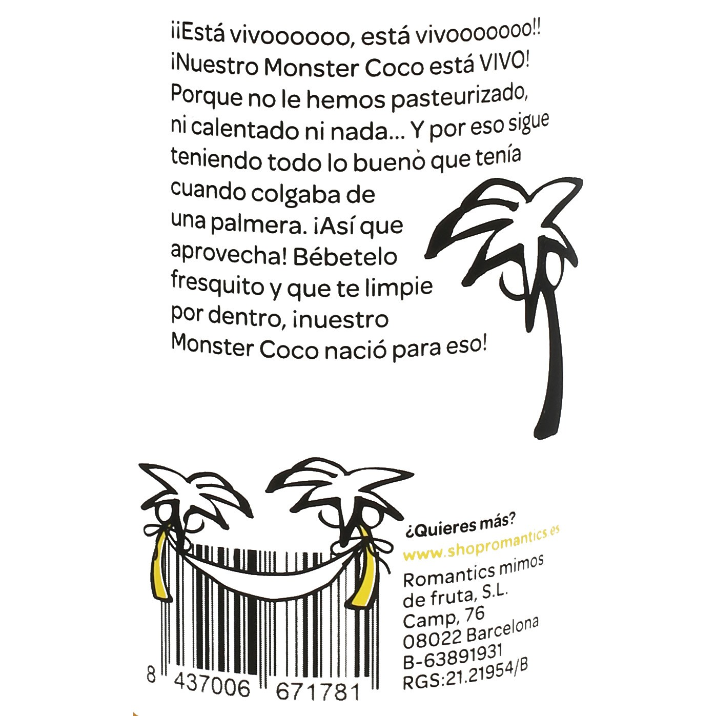 Zumo de coco Romantics Detox Yelow Monster botella 25 cl. - 3