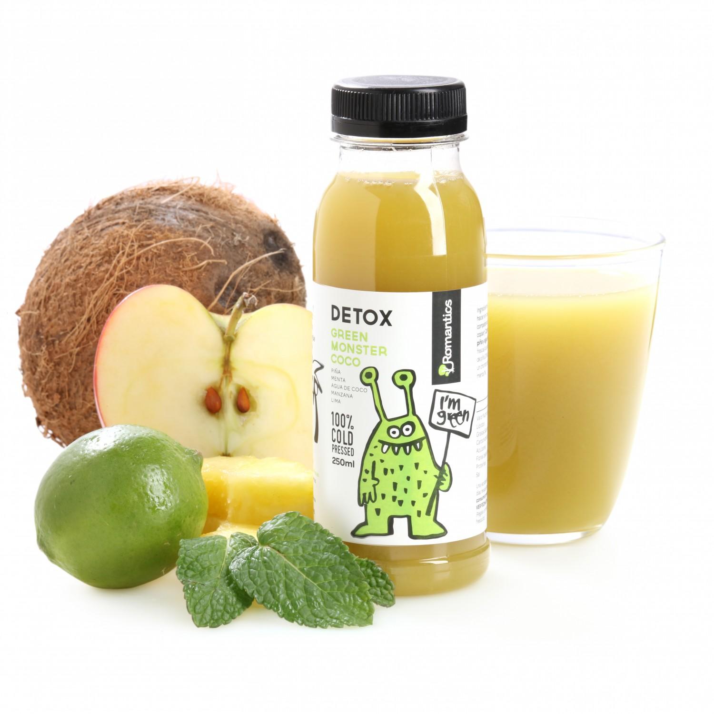 Zumo de coco Romantics Detox Green Monster botella 25 cl.