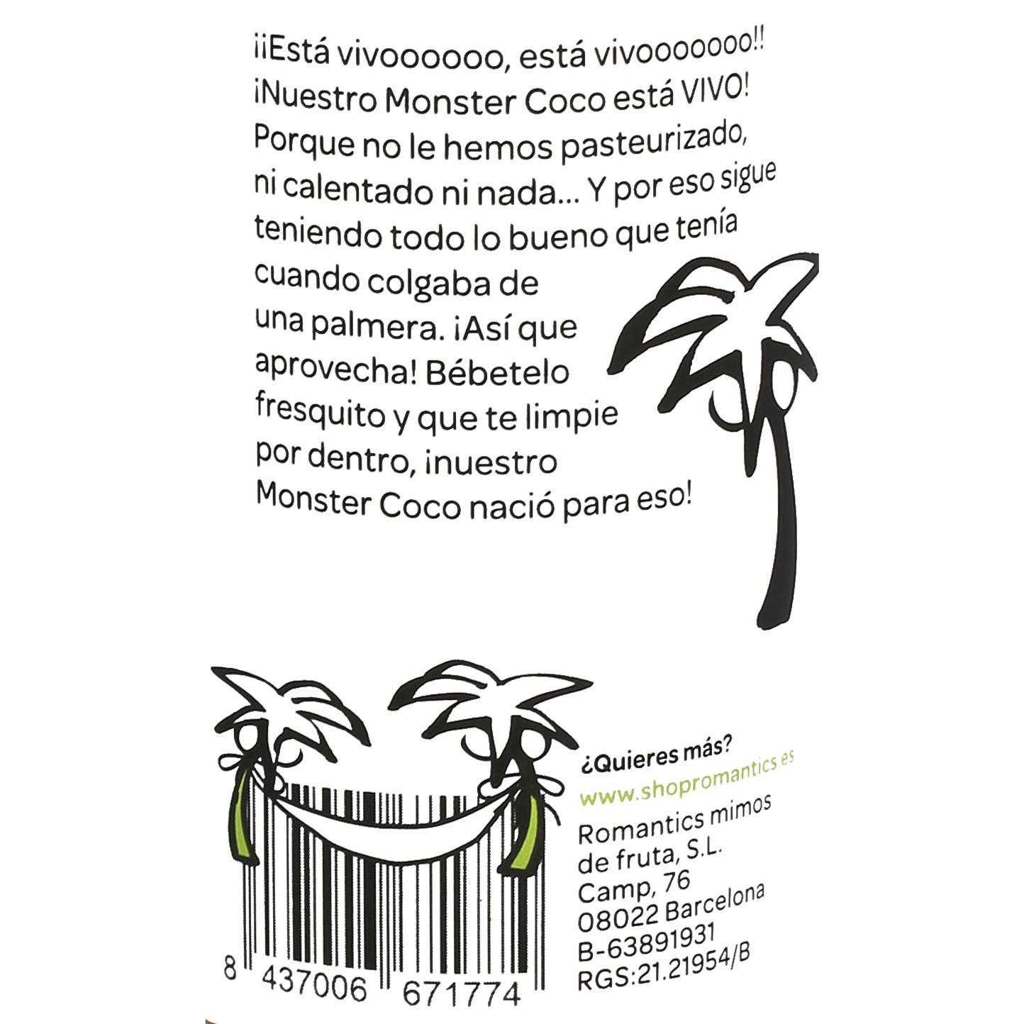 Zumo de coco Romantics Detox Green Monster botella 25 cl. - 3