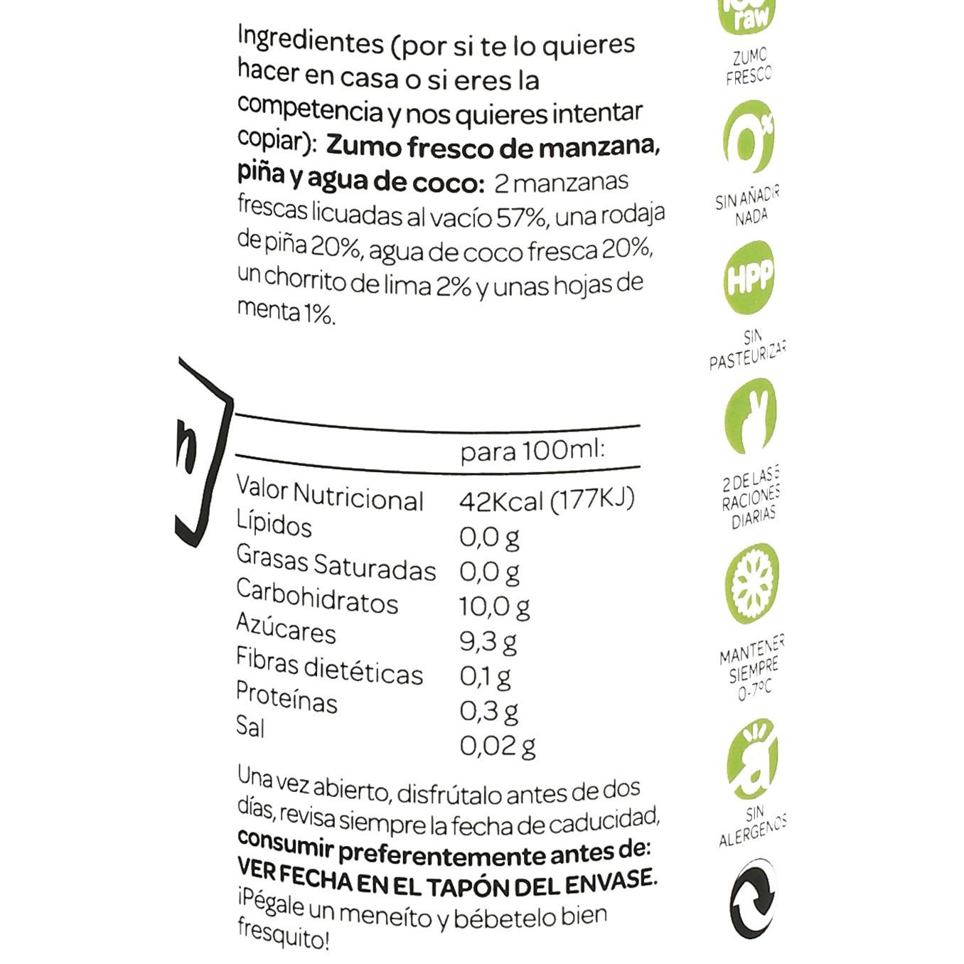 Zumo de coco Romantics Detox Green Monster botella 25 cl. - 4