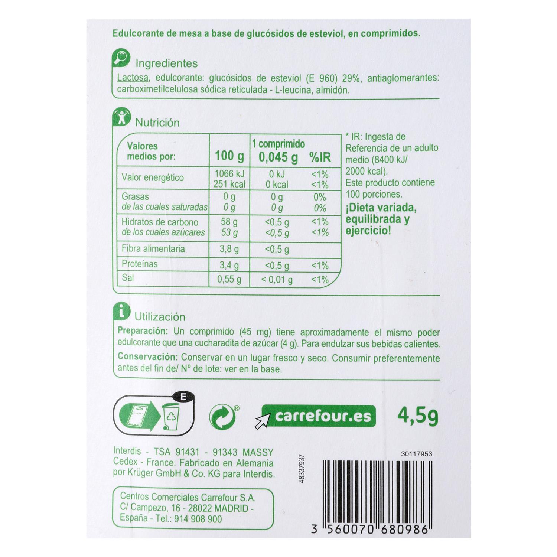 Edulcorantes con extracto de Stevia -