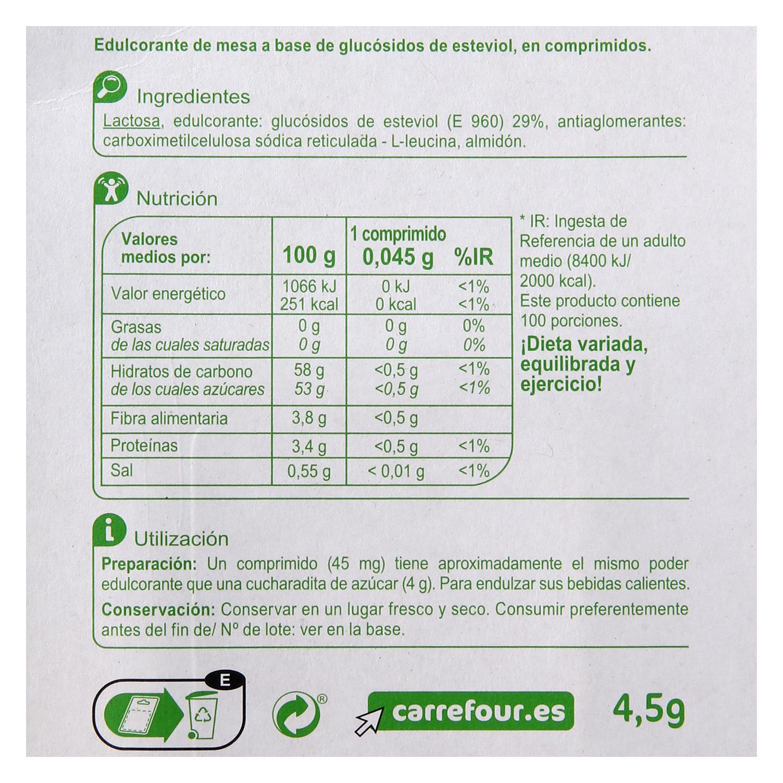 Edulcorantes con extracto de Stevia - 2