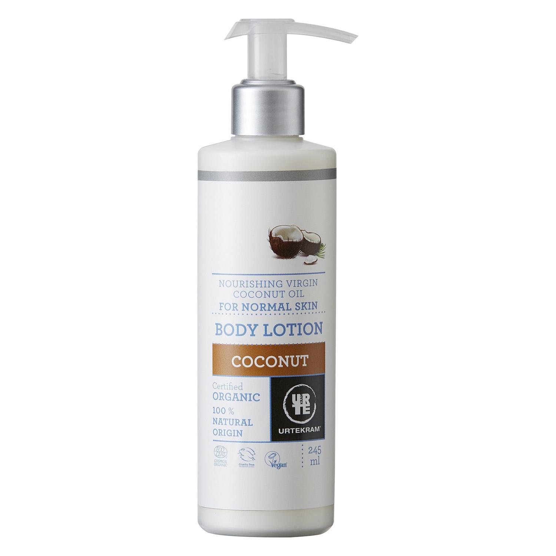 Loción corporal de coco para piel normal ecológica Urtekram 245 ml.