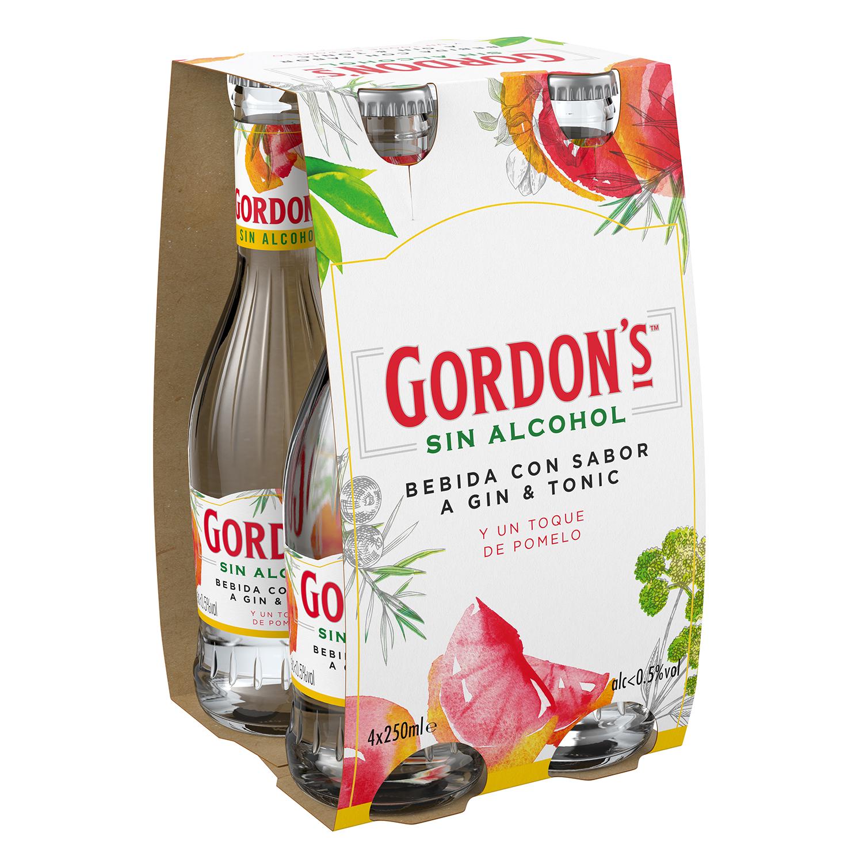 Combinado Gordon's gin tonic sin alcohol con pomelo pack de 4 botellas de 25 cl.