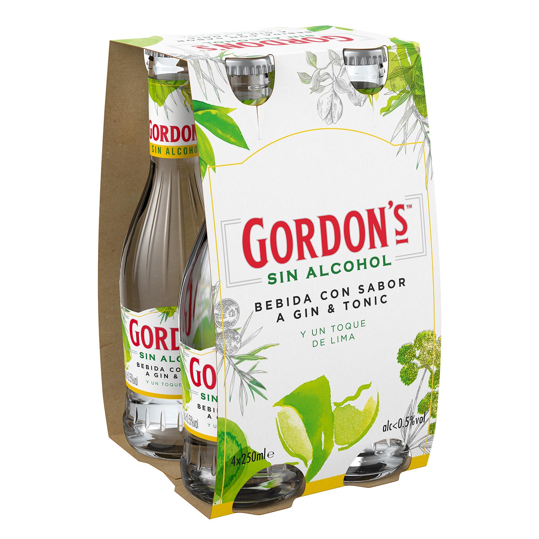 Combinado Gordon's gin tonic sin alcohol con lima pack de 4 botellas de 25 cl.