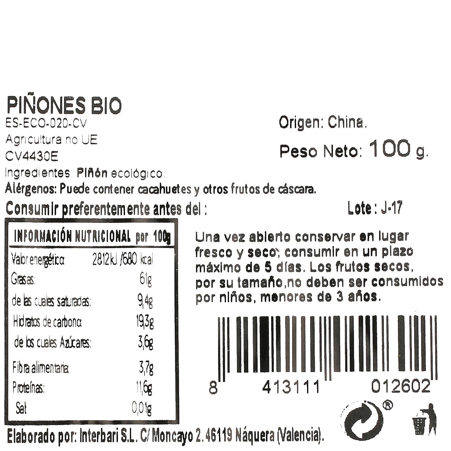 Piñones ecológicos Carrefour granel 100 g  - 3