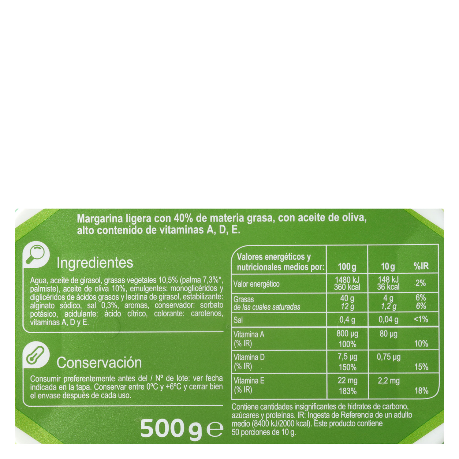Margarina Carrefour light con aceite de oliva 500 g. - 2