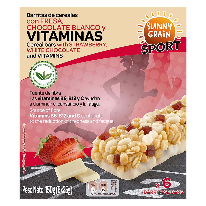 Barritas de cereales con vitaminas fresa y chocolate blanco