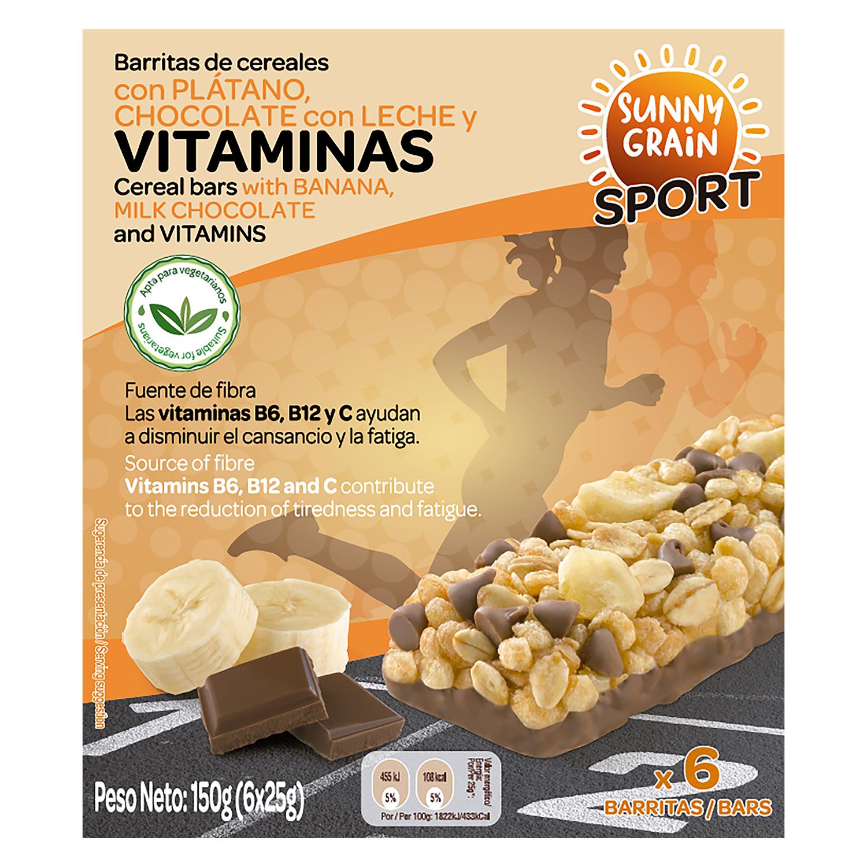 Barritas de cereales con vitaminas plátano y chocolate