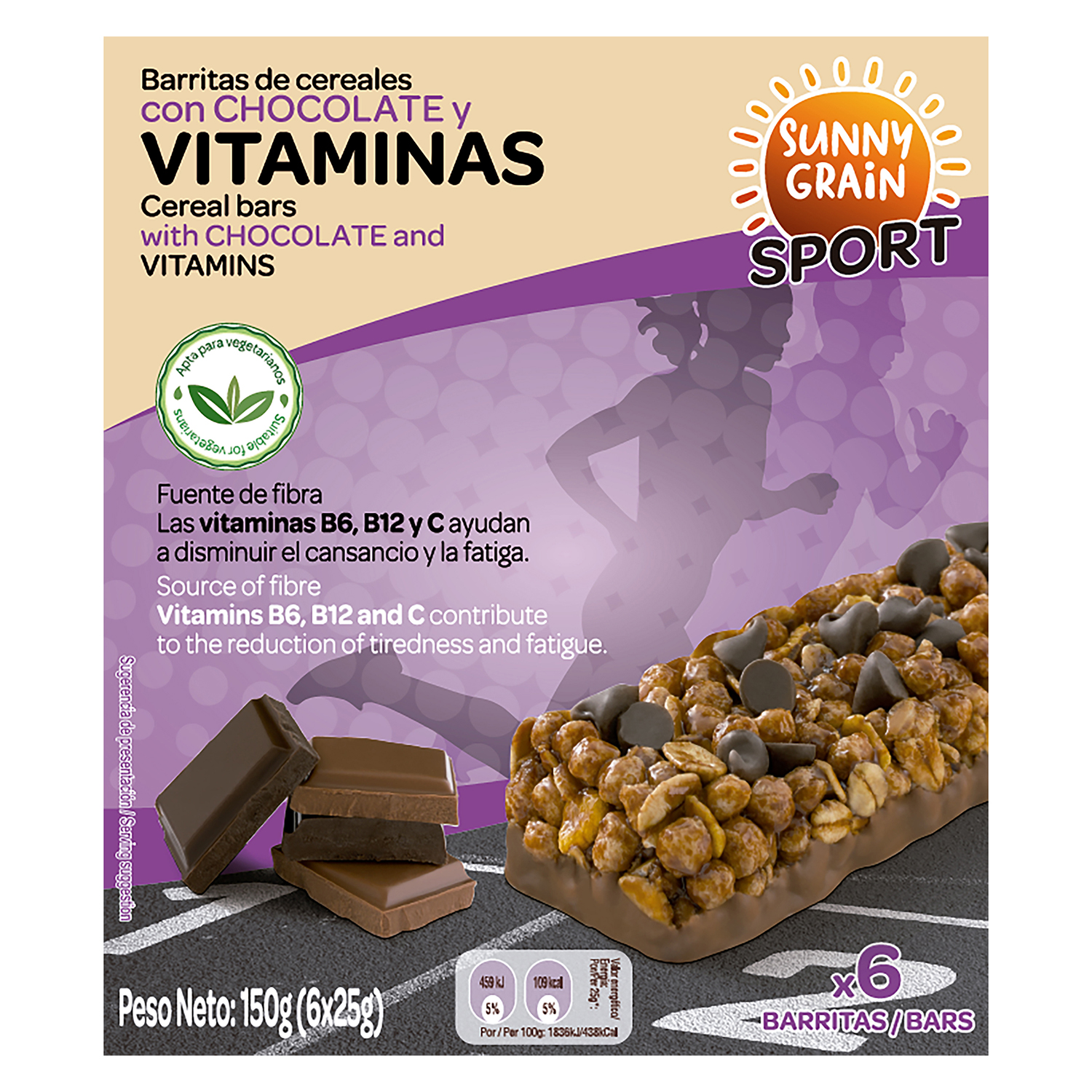 Barritas de cereales con vitaminas y chocolate