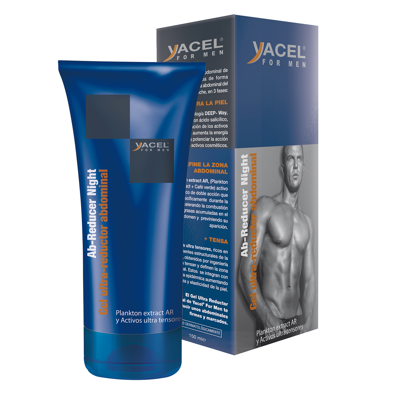 Gel utra-reductor abdominal noche men Yacel 150 ml.
