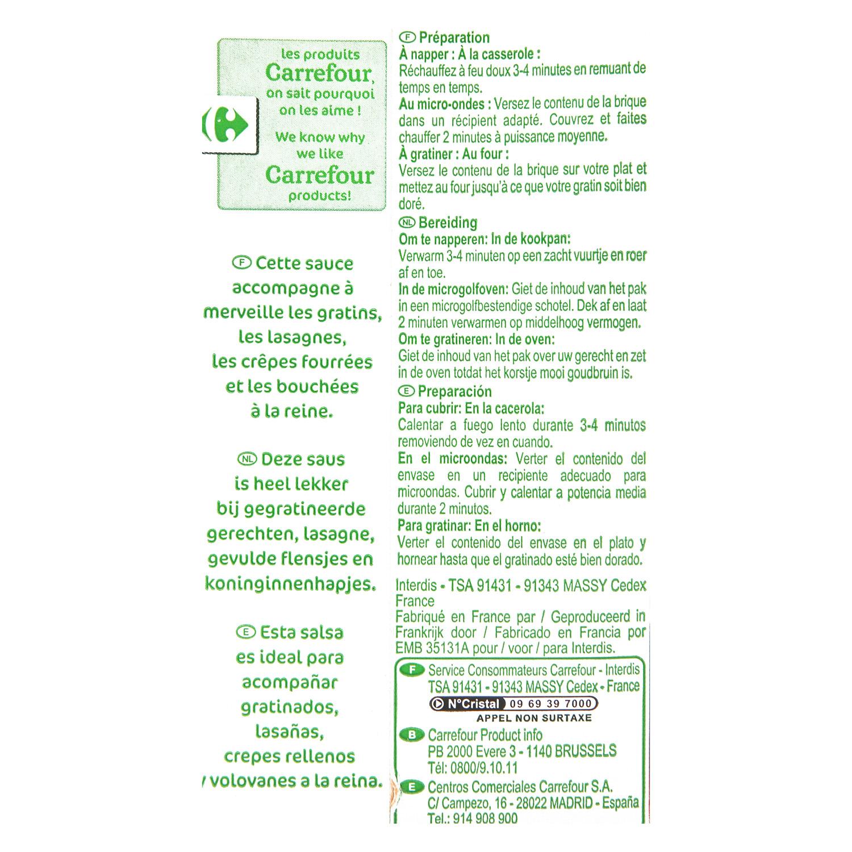 Salsa bechamel Carrefour brik 500 ml. - 2
