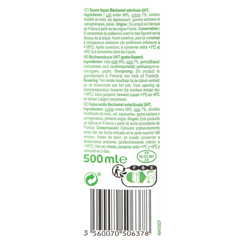 Salsa bechamel Carrefour brik 500 ml. - 3