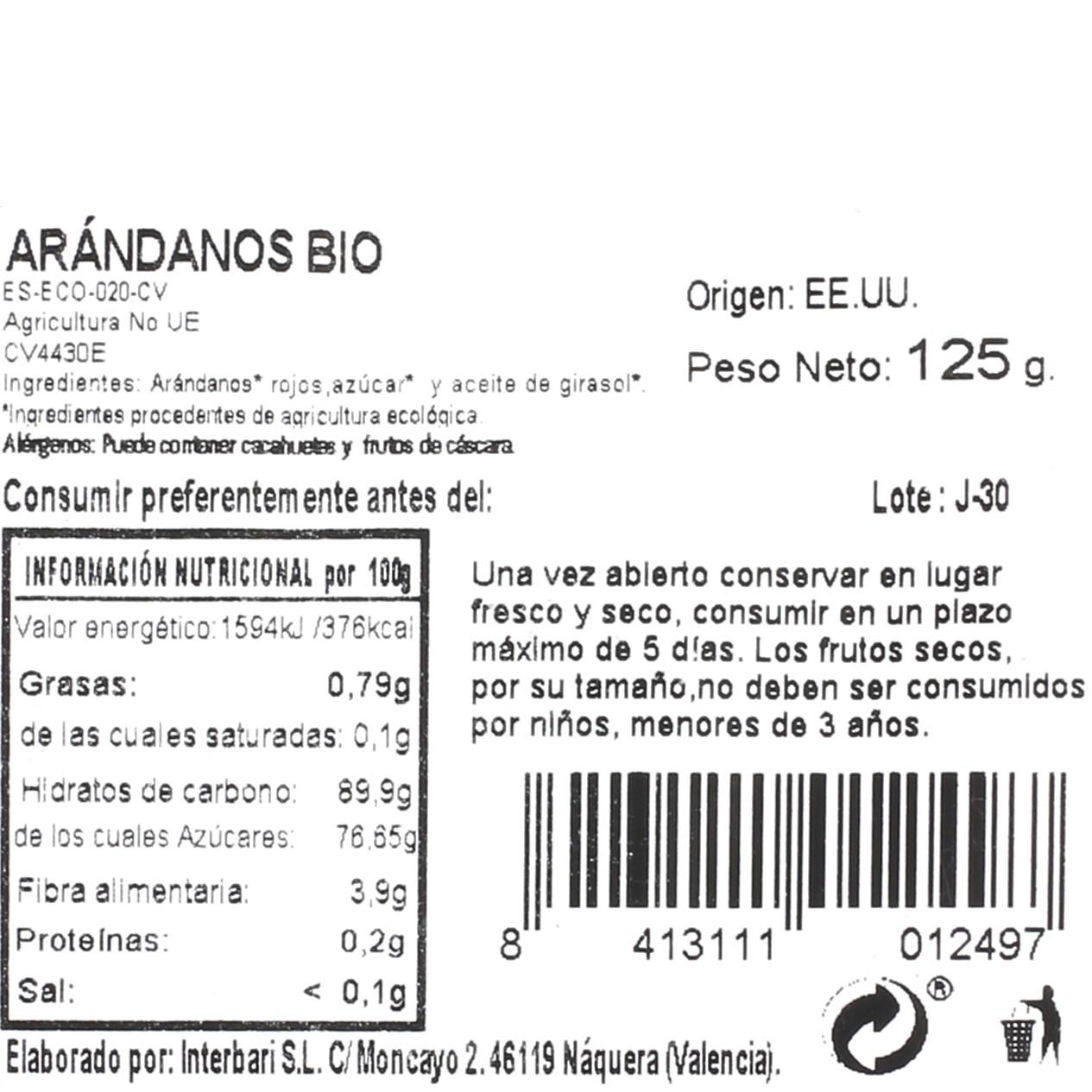 Arandanos rojos ecológico confitado Carrefour granel 125 g  - 3