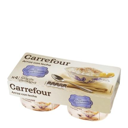 Arroz con lecherroz Carrefour pack de 4 unidades de 130 g.