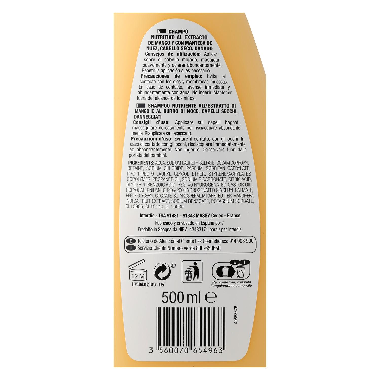 Champú Mango & nuez para cabello seco Les Cosmétiques -Nectar of Beauty 500 ml. - 2