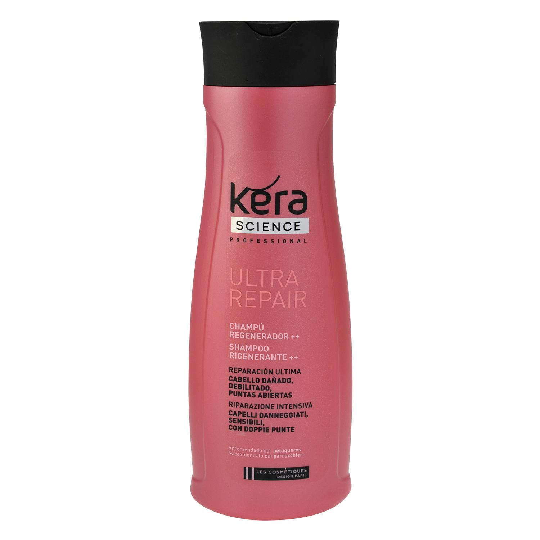 Champú regenerador cabello dañado, debilitado, puntas abiertas Les Cosmétiques -Kera Science 400 ml.