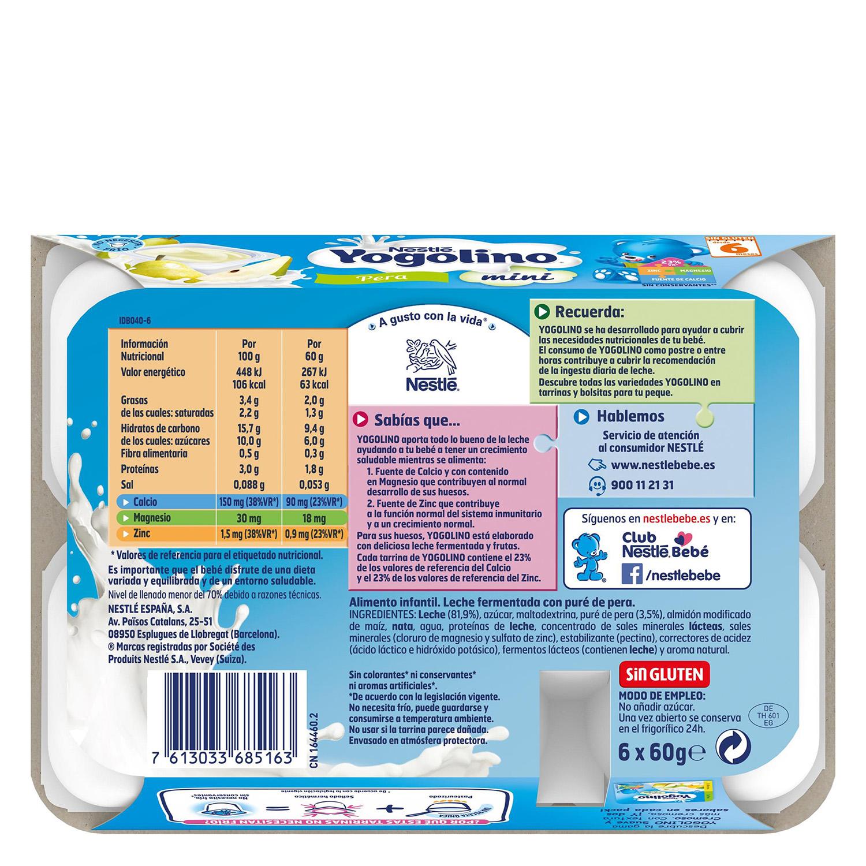 Preparado lácteo de pera Nestlé Iogolino pack de 6 unidades de 60 g. - 2