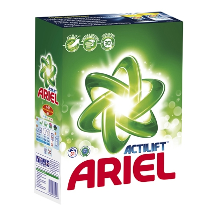 Detergente en polvo Actilift Ariel 31 cacitos.