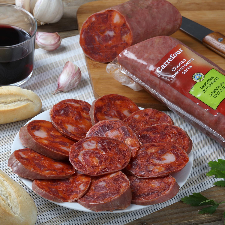 Chorizo iberico extra sarta Carrefour Calidad y Origen pieza 400 g  -