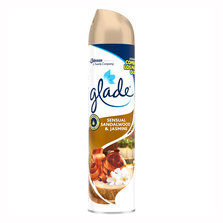 Ambientador aerosol Bali con sándalo y jazmín Glade by brise 300 ml.