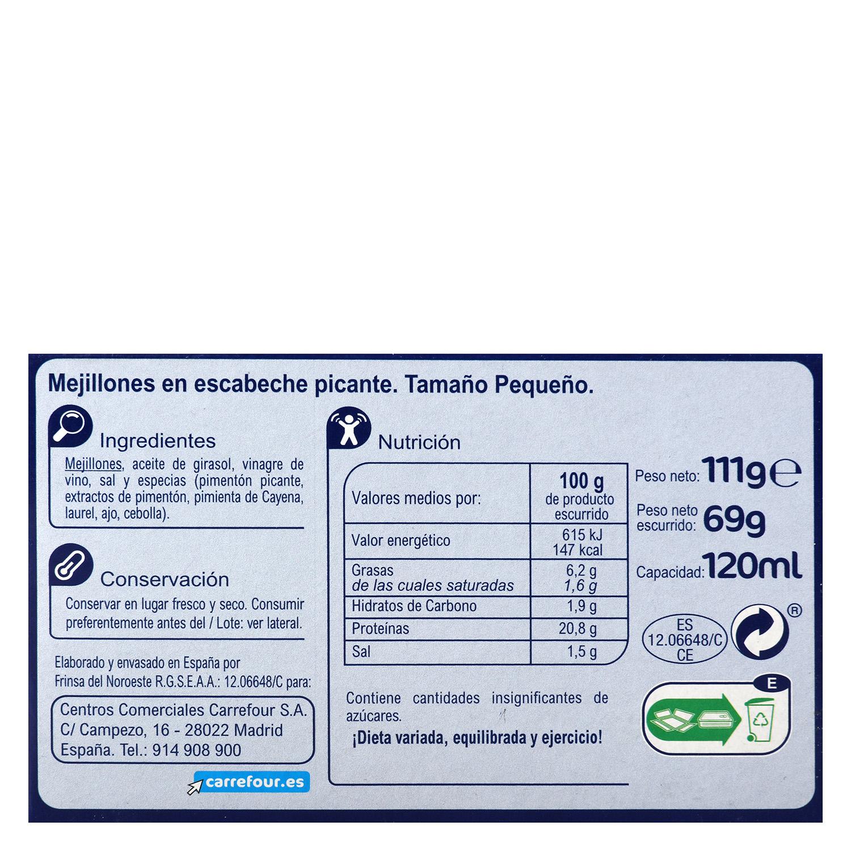 Mejillones en escabeches picantes 14/18 - Sin Gluten -