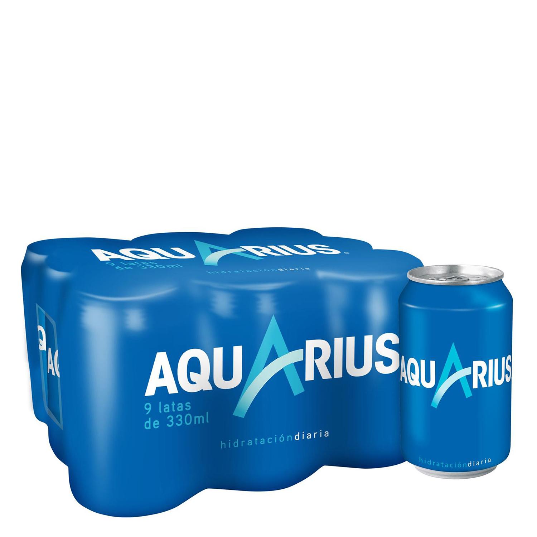 Bebida Isotónica Aquarius sabor limón pack de 9 latas de 33 cl.