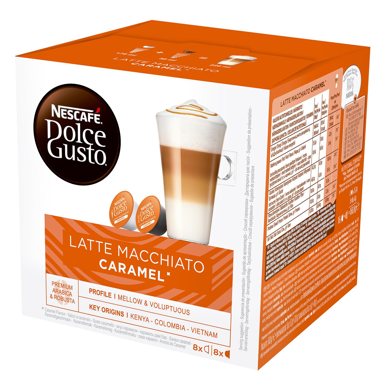 Café latte macchiato caramel en cápsulas Nescafé Dolce Gusto 8 unidades de 21,1 g.
