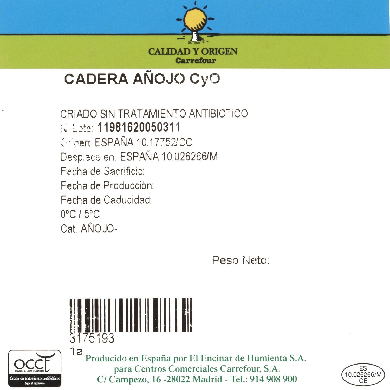 Cadera de añojo Carrefour Calidad y Origen limpia entera sin corte 4,5 Kg aprox - 2